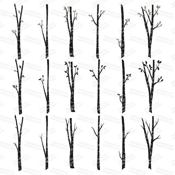 Premium Birch Tree Clipart & Vector Set Birch Tree Clip Art by.
