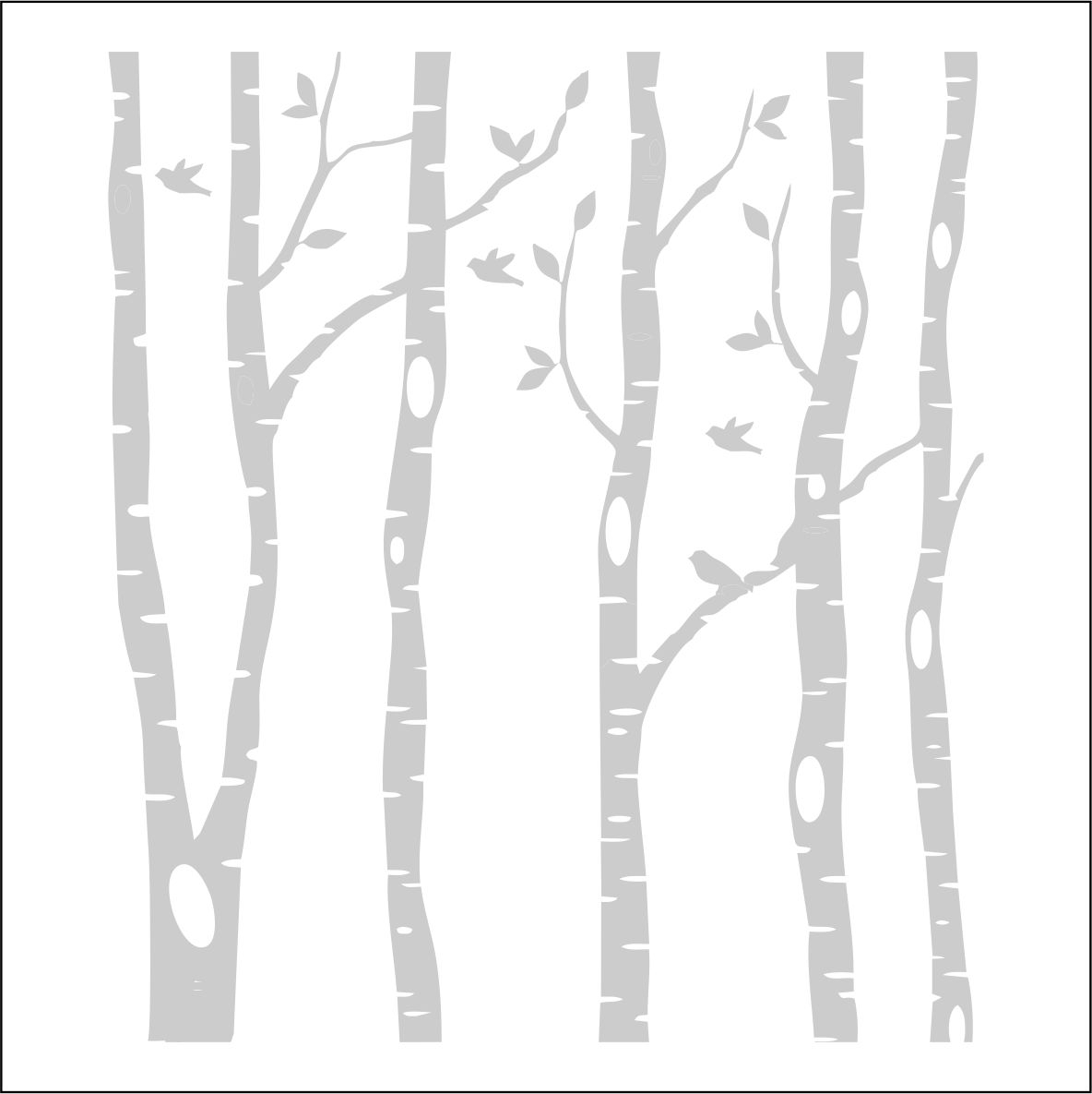 Birch tree clipart black and white.