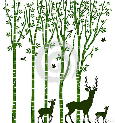 Santa In Birch Tree Forest, Vector Stock Vector.