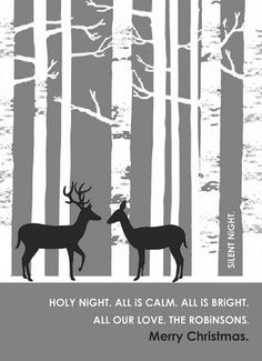 Birch tree forest with Christmas deer silhouettes, digital clip.