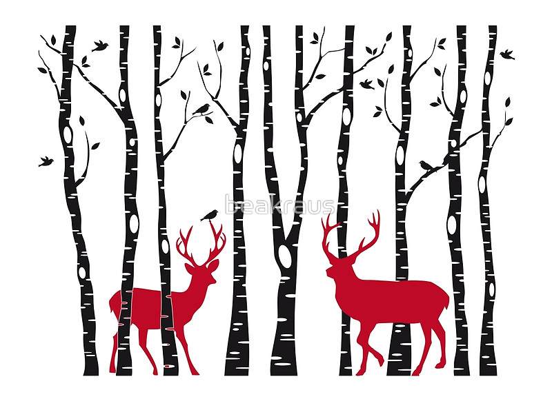 Birch Tree Clipart With Deer.