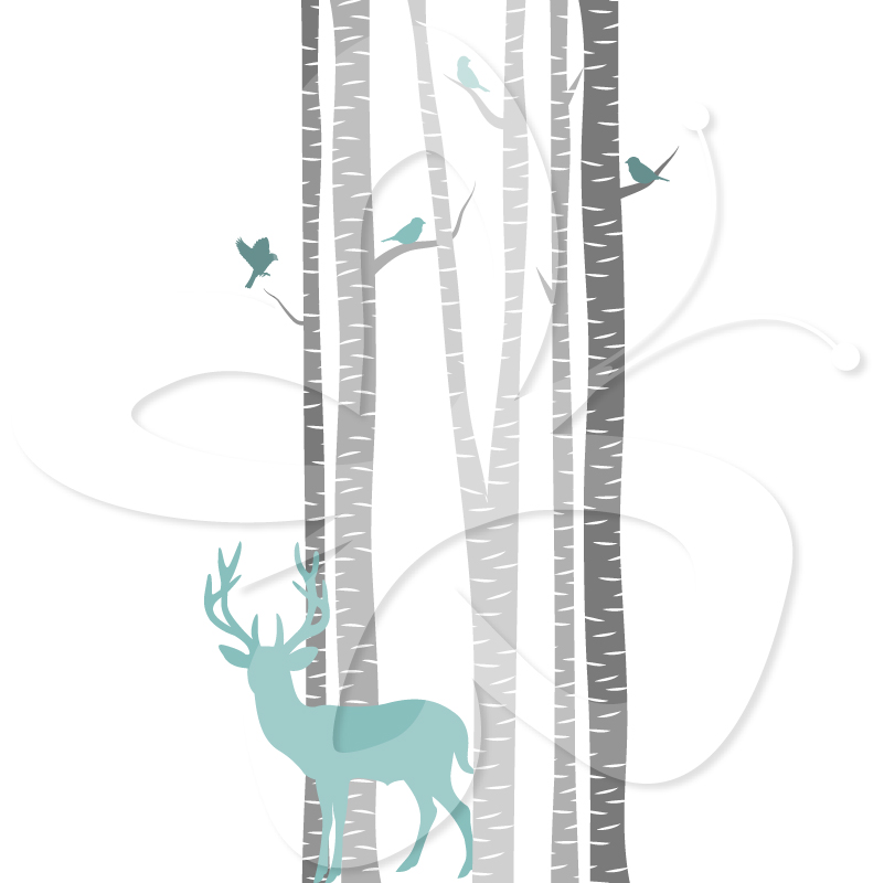 Deer and Birds Amongst the Birch Trees.