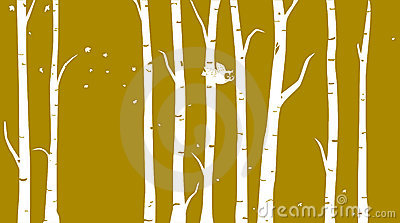 Winter birch tree clipart.