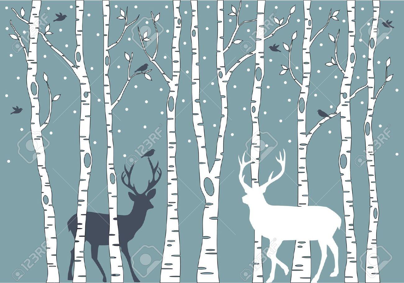 Birch tree clipart with deer.