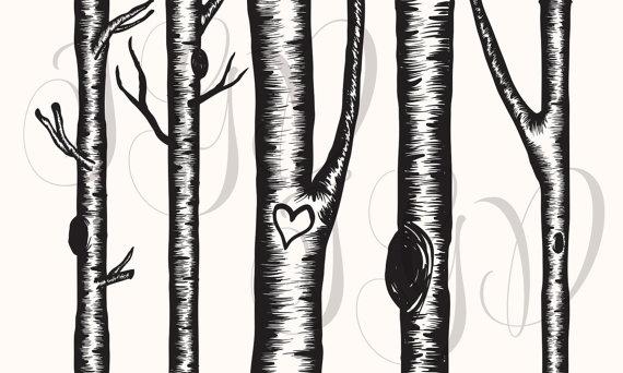 Birch Tree Digital Clip Art.