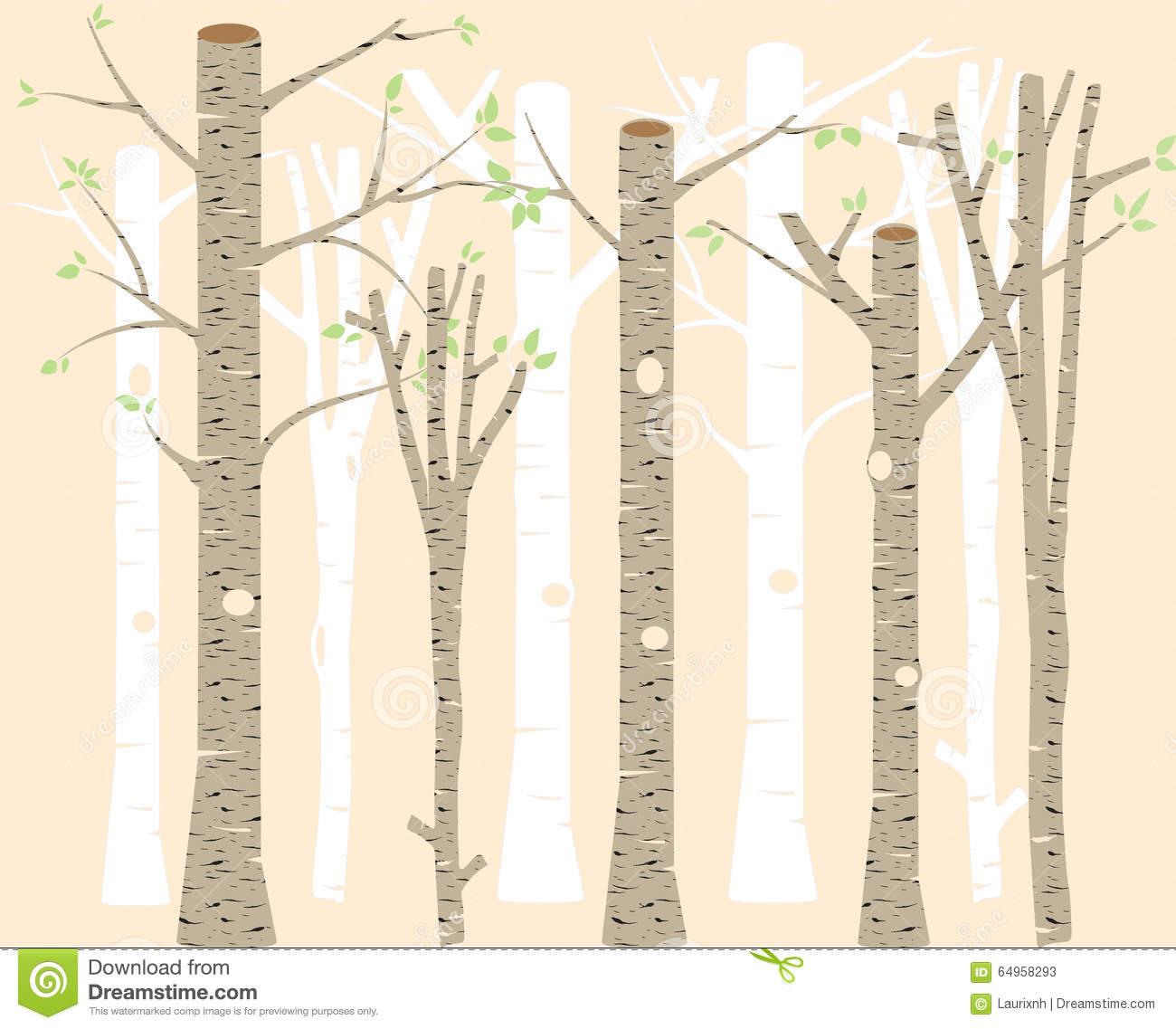 Birch Clip Art , Trees Illustration, Woodland, Birch Silhouettes.