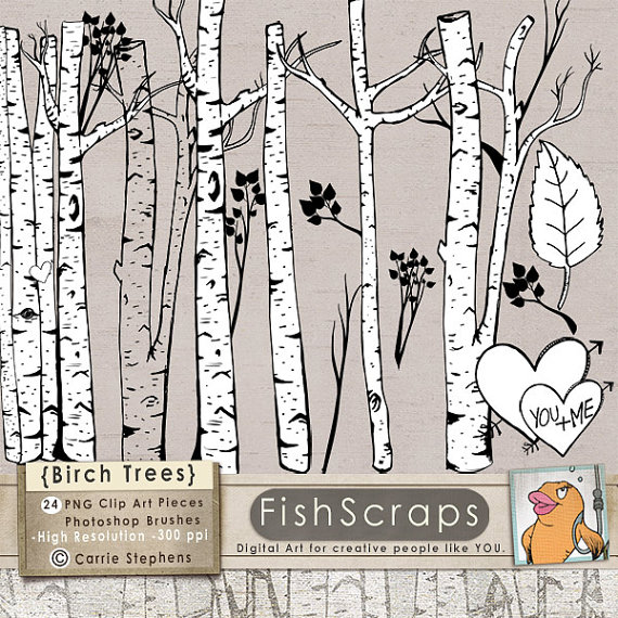 Birch Tree Clip Art, Winter Forest, Tree Branch ClipArt Outlines.