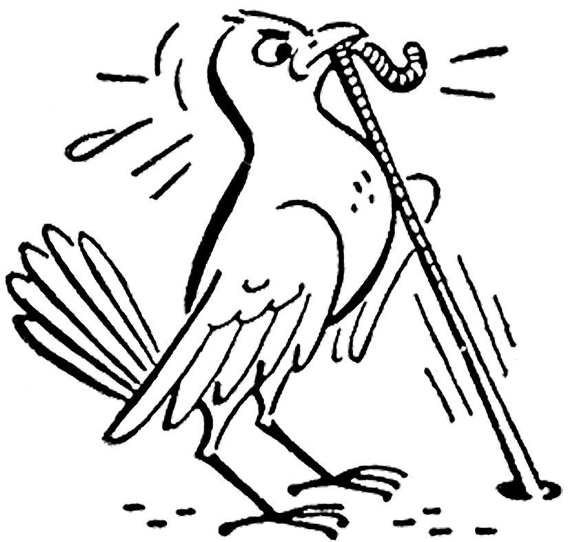 2 Cute Retro Bird and Worm Clip Art Images!.