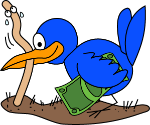Early Bird Catches The Worm Clipart.