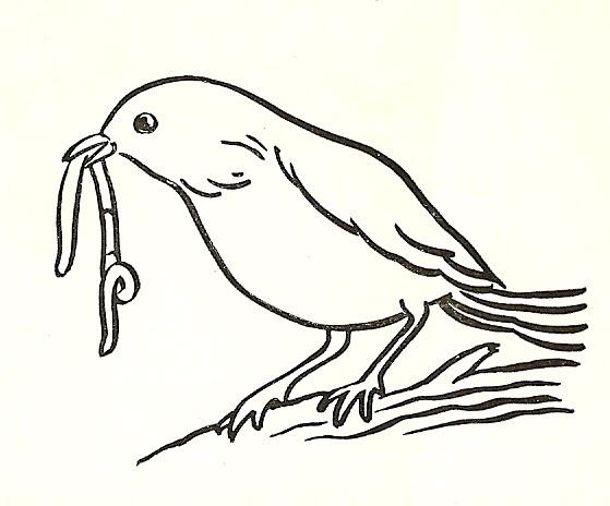 Bird Eating Worm Clipart.