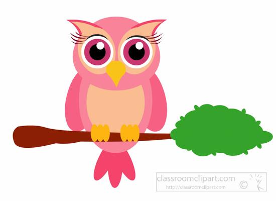 Little Owl Bird Sitting On Branch Animal Clipart » Clipart.