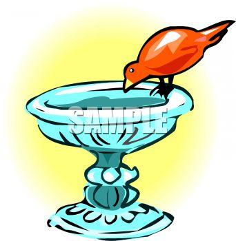 Bird Drinking from a Birdbath.