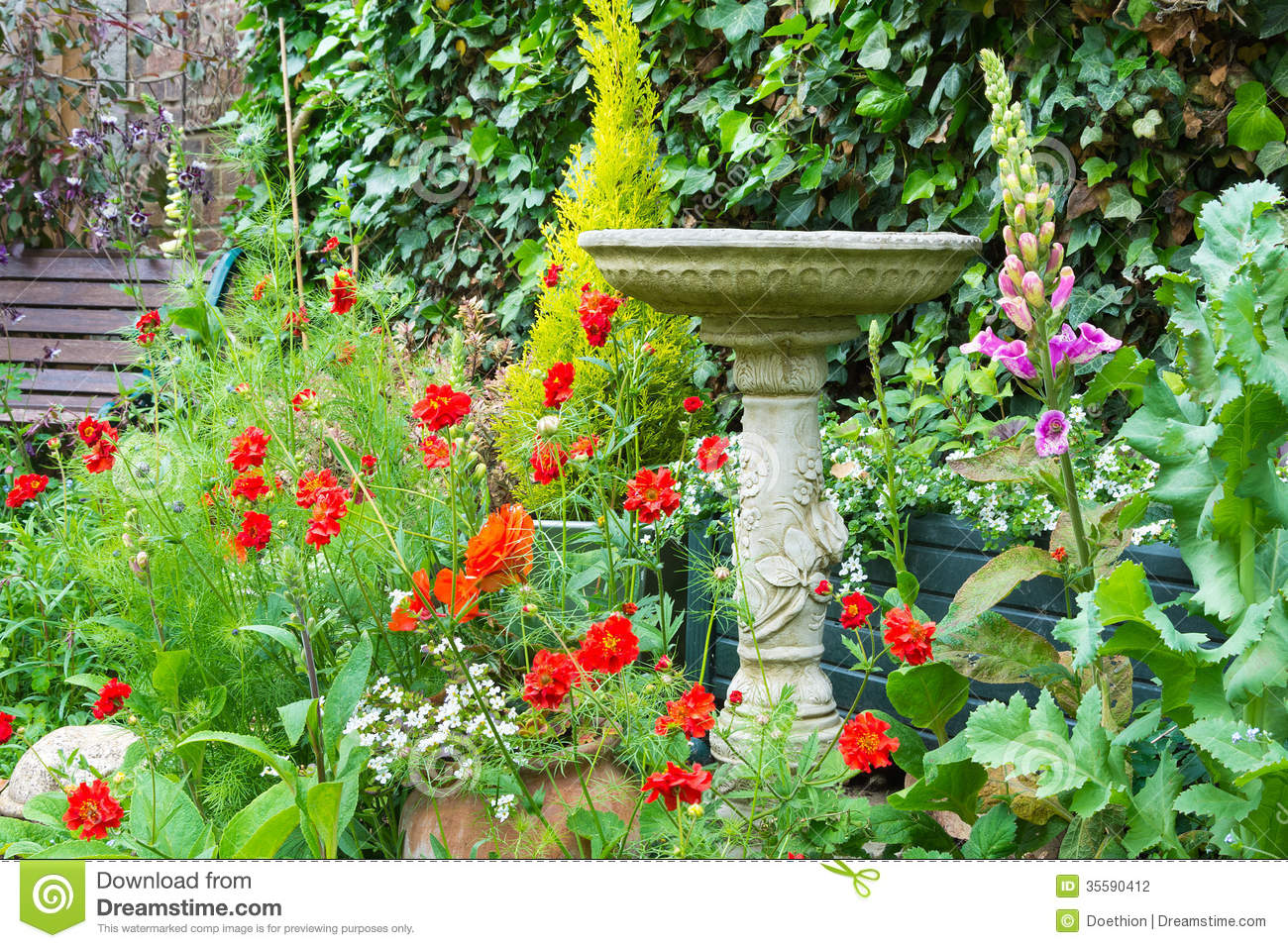 Bird Bath in Garden Clip Art.