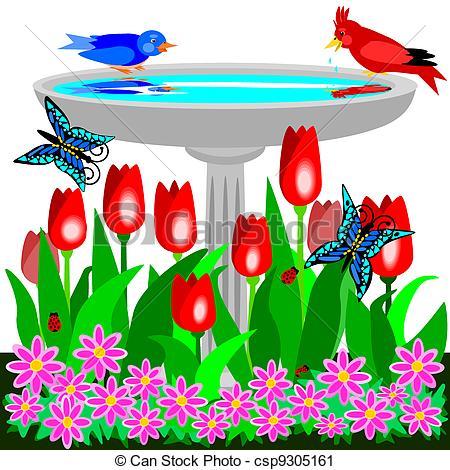 Bird Bath Clipart.