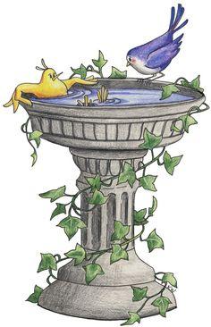 Garden Bird Bath Clip Art.