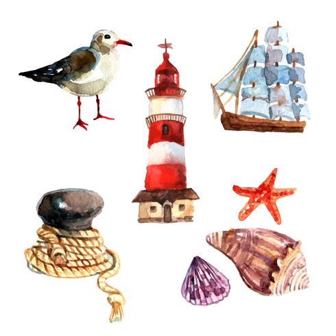 Watercolor Nautical Set.
