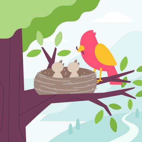 Bird Feeding Chicks with worm in the tree nest. Vector Flat.