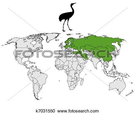 Clipart of Common Crane breeding grounds k7031550.
