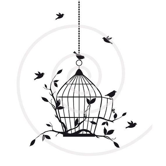 Birds with open birdcage, digital clip art, clipart.