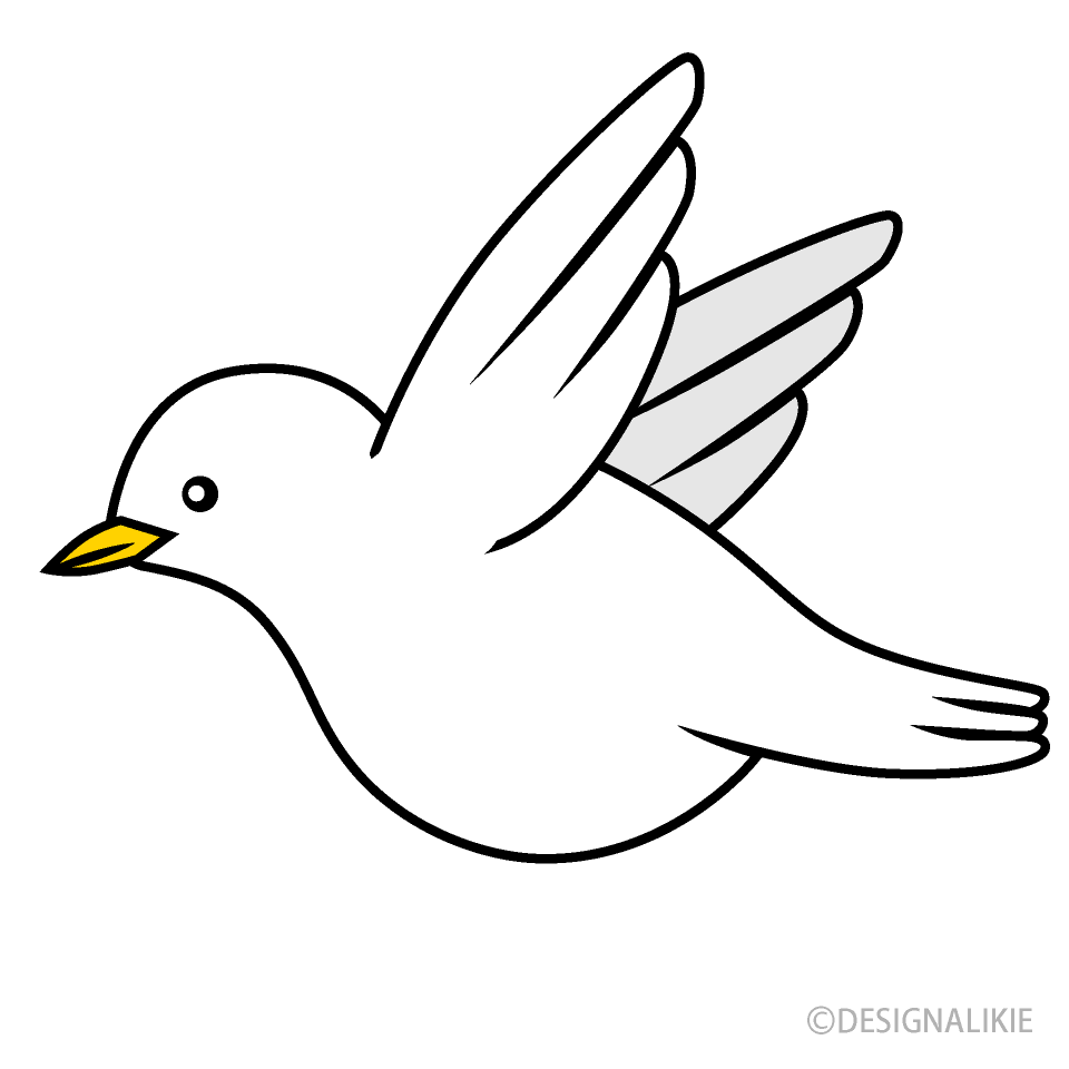 Free Flying White Bird Clipart Image|Illustoon.