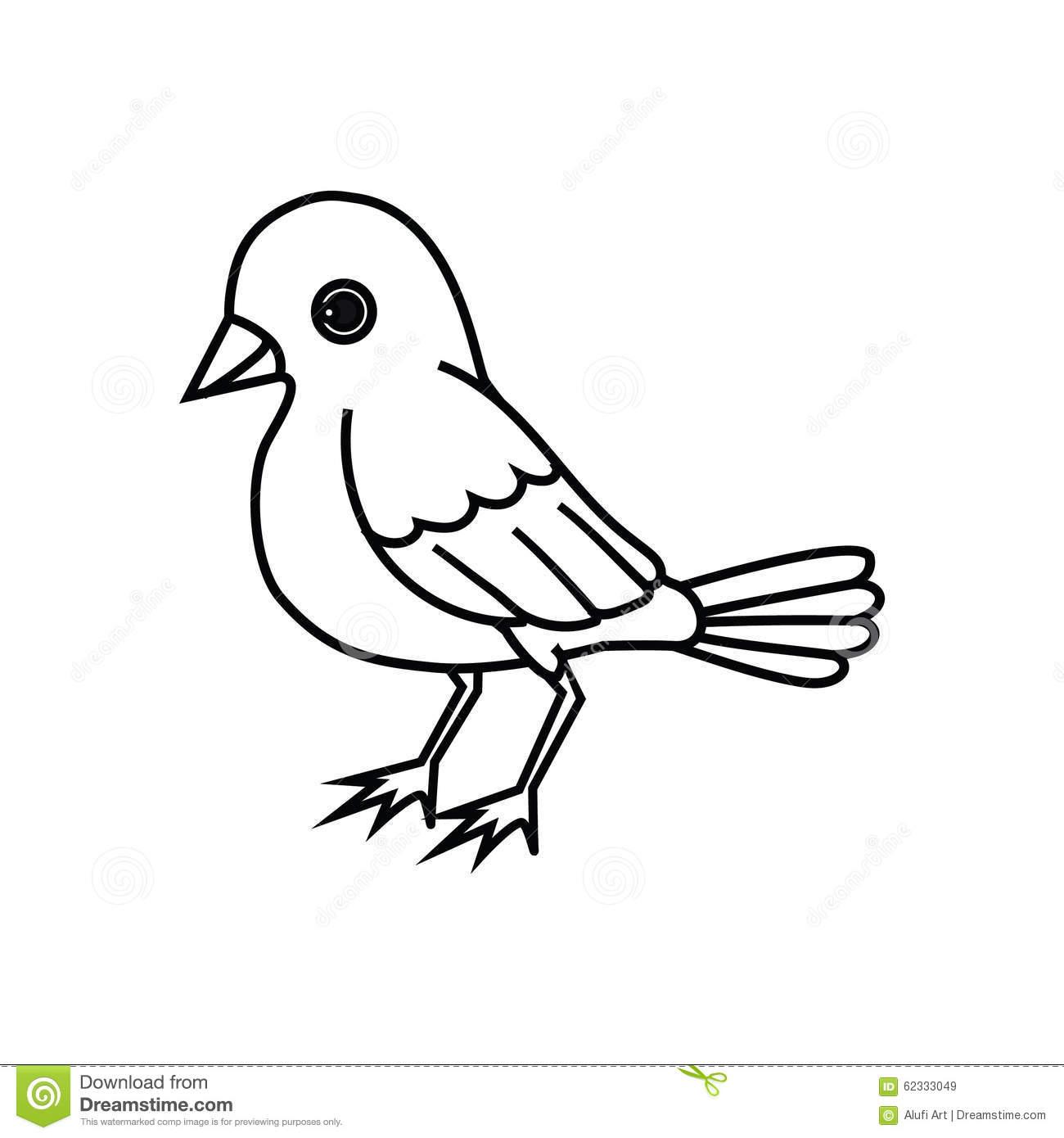 Standing Bird Outline stock vector. Illustration of flutter.