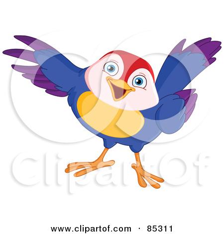 Clipart of a Cartoon Loving Bird Couple Cuddling.