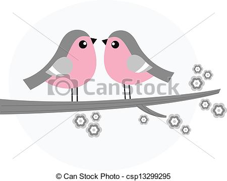 EPS Vectors of Cute bird couple on blossom branch.