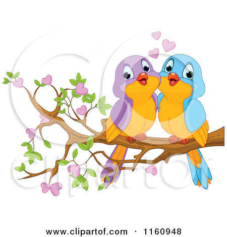 Cartoon of a Love Bird Couple with Hearts and a Flower.