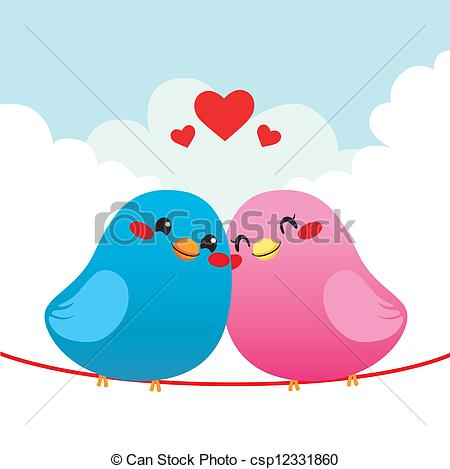 Clip Art Vector of Loving Bird Couple.