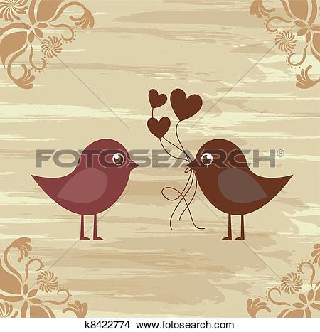 Clipart of Birds couple k8422774.