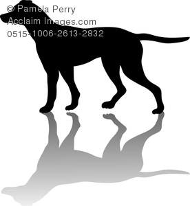 Clip Art Image of a Silhouette of an English Pointer Bird Dog.