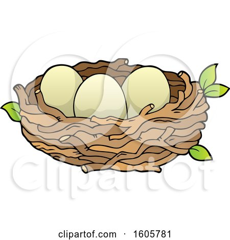 Clipart of a Bird Nest with Eggs.