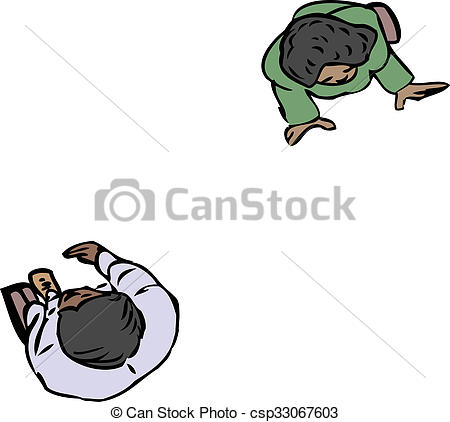 Stock Illustration of Birds Eye View of Two People.