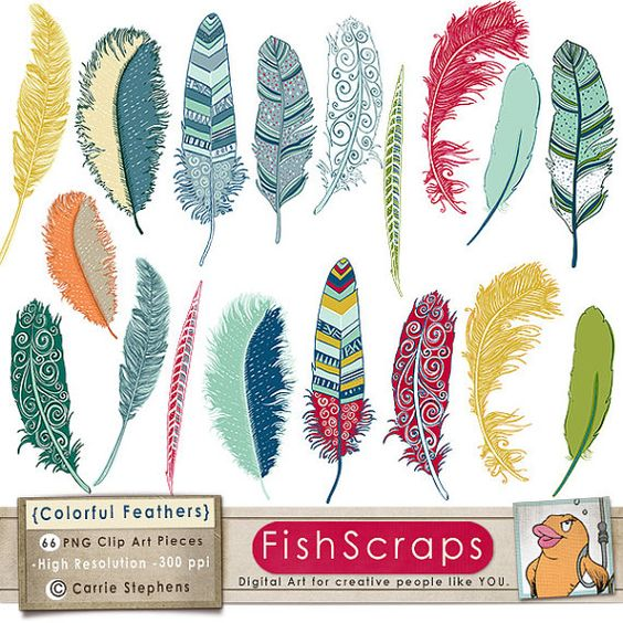 Colorful Feather Clip Art, Tribal Bird Feathers, Feather.