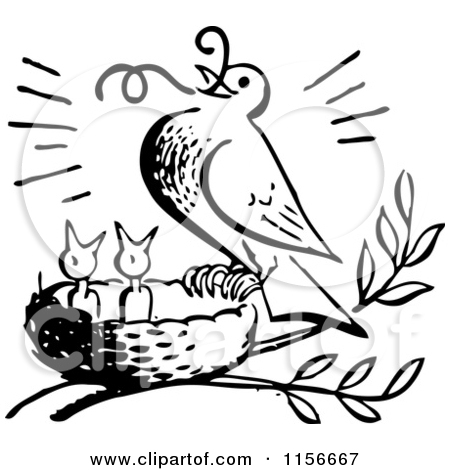 Clipart of a Black and White Retro Bird Feeding Chicks a Worm.