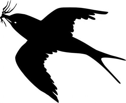 Flying Crow Silhouette Clipart.