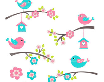 Bird flower clipart.