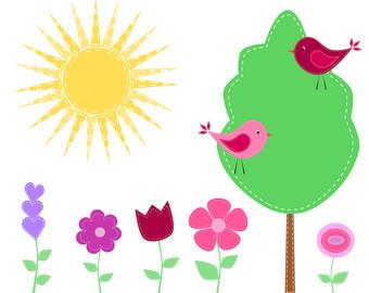 Bird flower clipart.