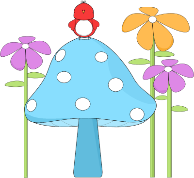 Mushroom with a Bird and Flowers Clip Art.