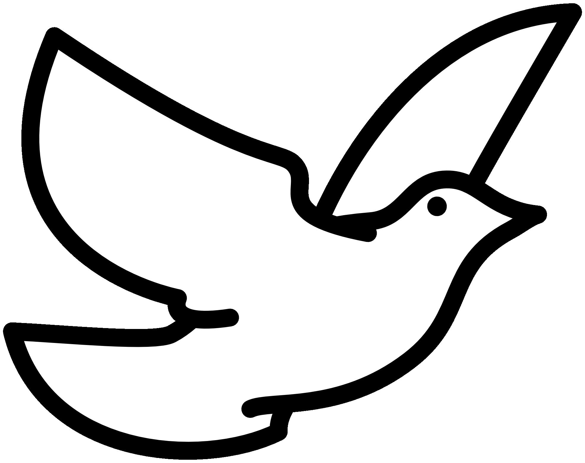 Flying bird line art clipart.