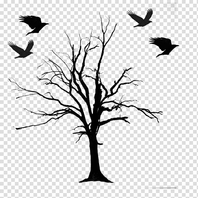 HALLOWEEN O, silhouette of leafless tree under four flying.