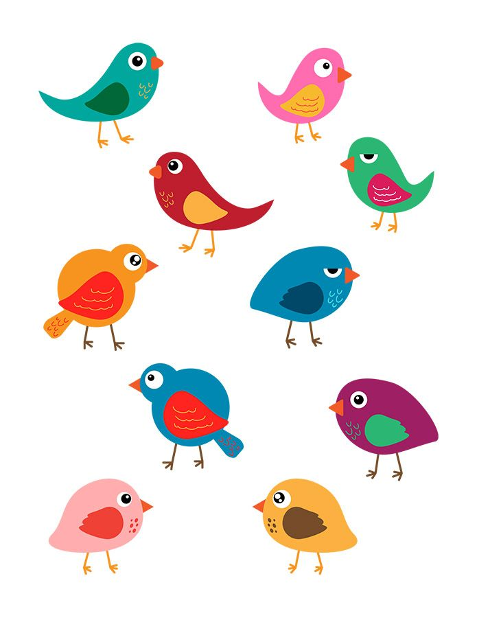 10 Colorful Birds Vector Clip Art.