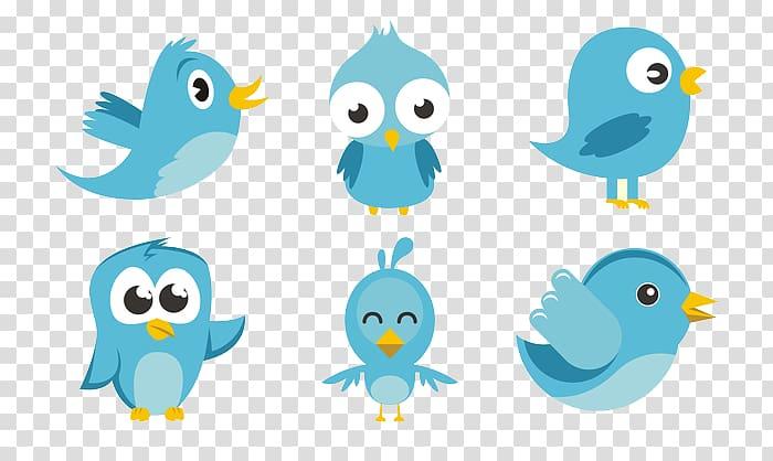 Six blue birds illustration, Bird Euclidean , Twitter Bird.