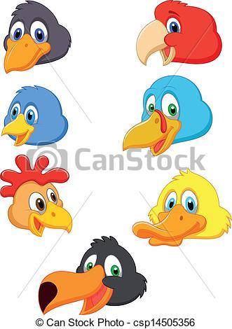 Clipart Vector of Bird head cartoon collection.