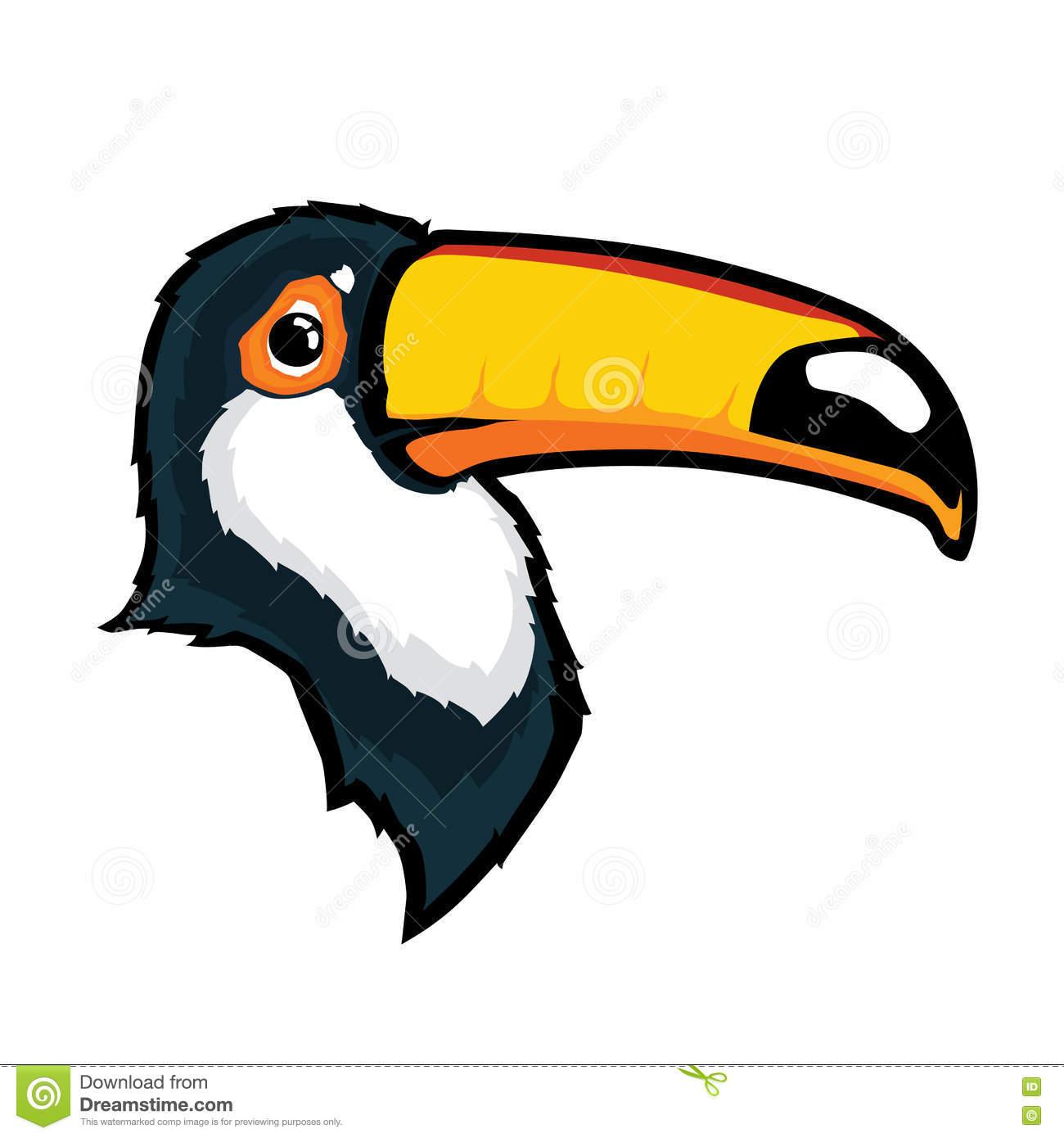 Toucan Bird Head Mascot Stock Vector.