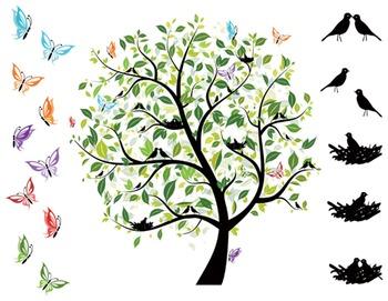 Digital Bird Tree Clip Art Green Tree Love Bird Bird Nest Clip Art.