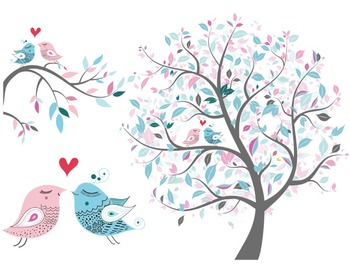 Love Bird Clip Art Tree Clipart Branch Heart Bird Pink and Blue.