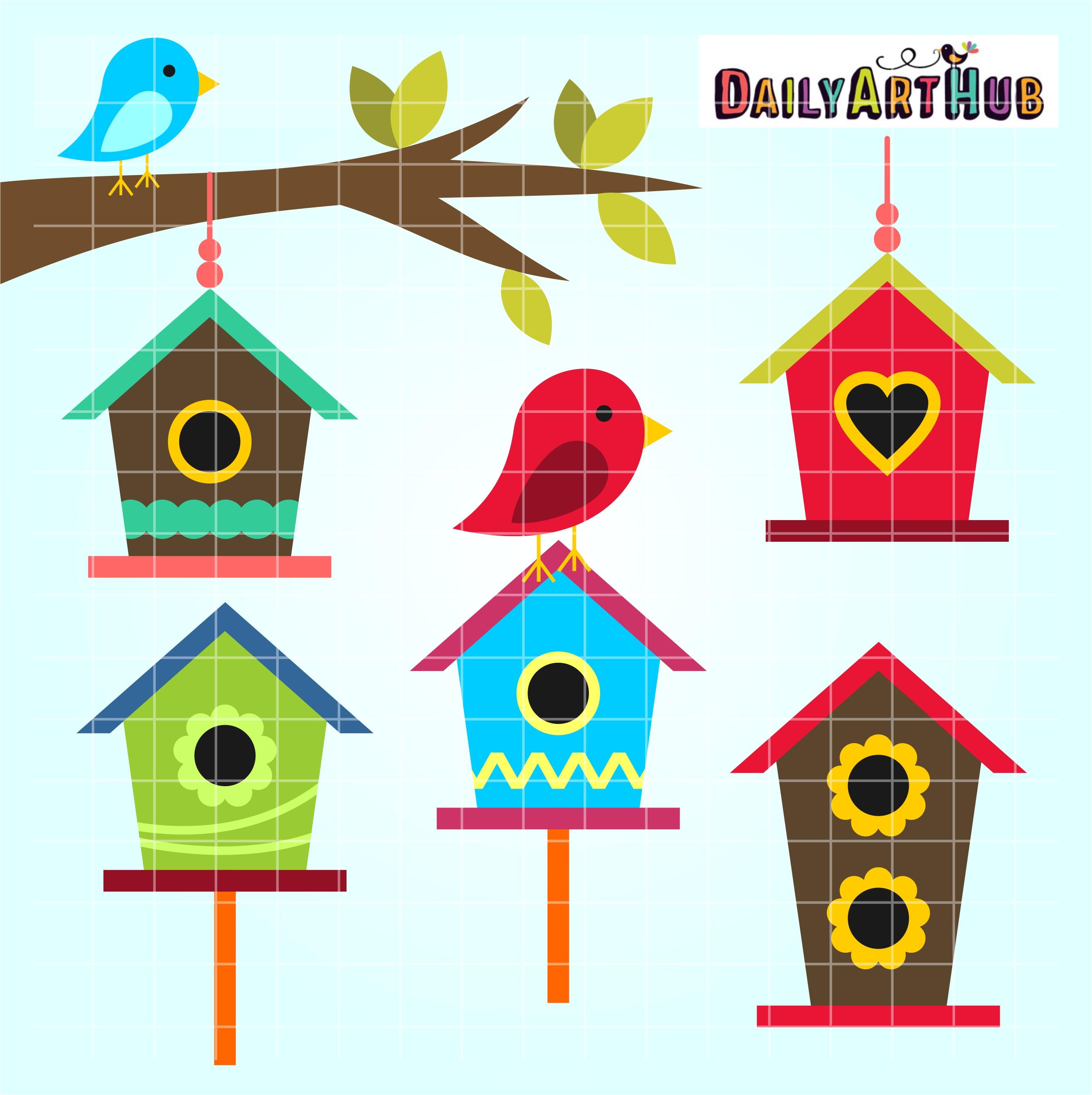 Bird Houses Clip Art Set.
