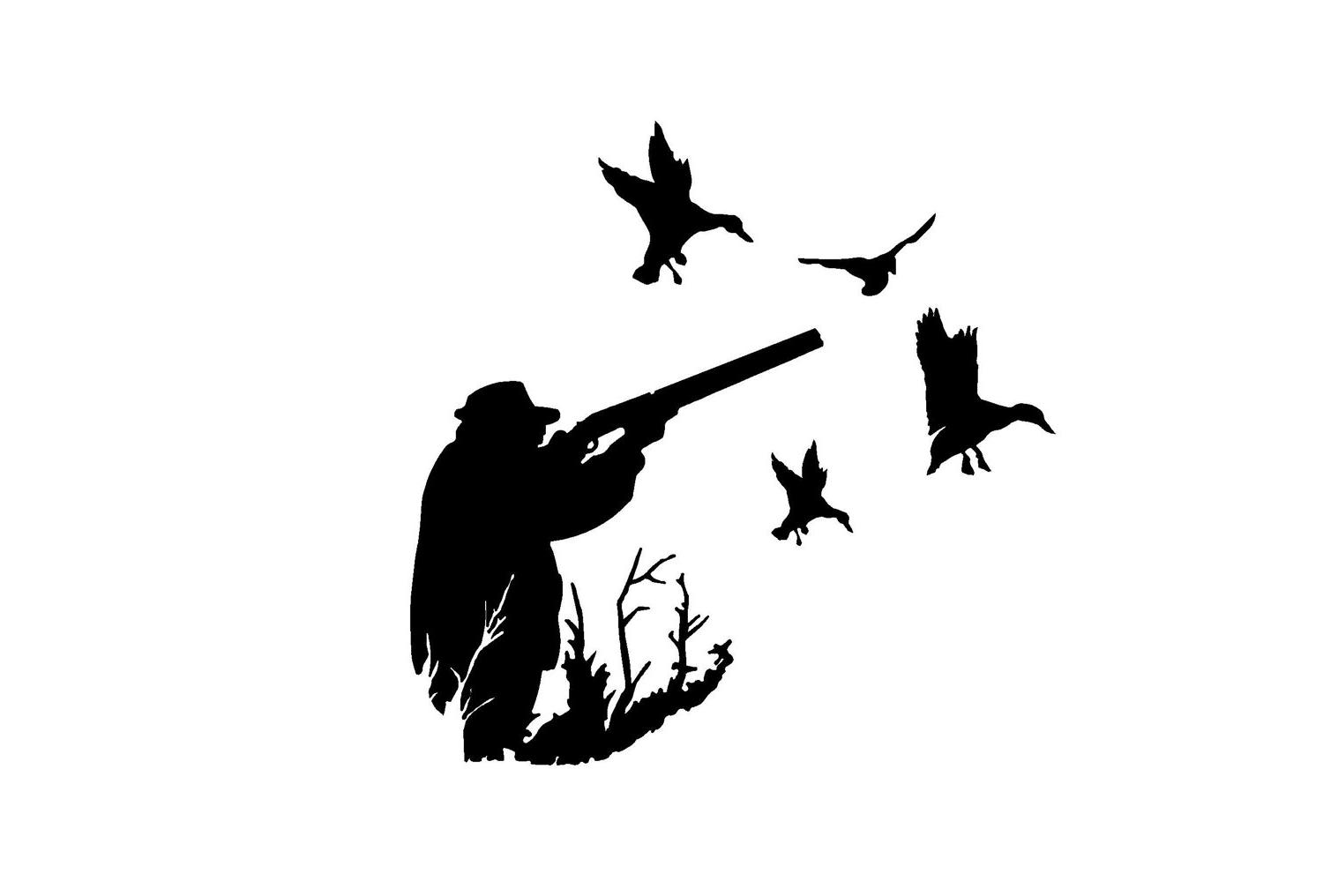 Duck Hunting Silhouette.