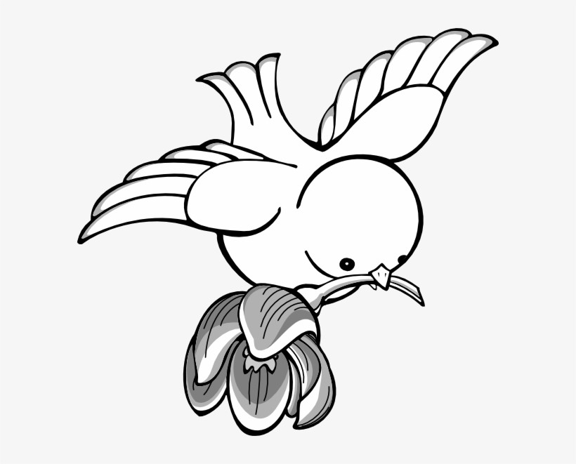 Bird Flying With Flower Clip Art Vector.